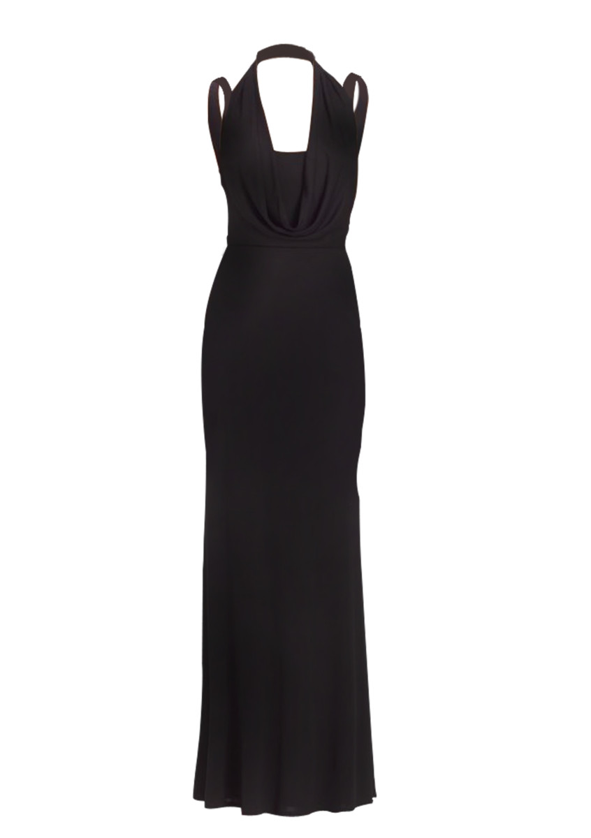 ABS by Allen Schwartz - Cowl Neck Gown - Black | All The Dresses
