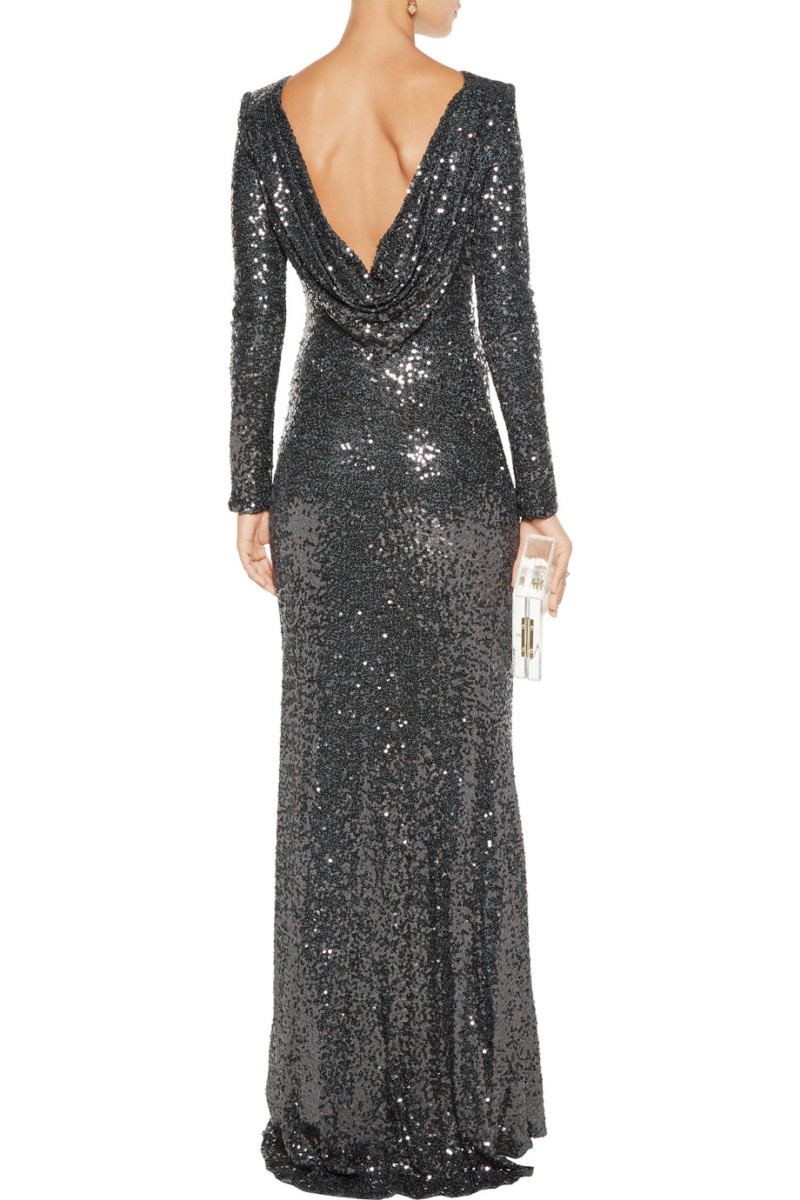 Badgley Mischka Sequined Cowl Back Long Sleeved Gown
