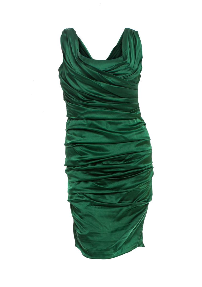 d336989e Dolce & Gabbana - Silk Satin Gathered Dress – Emerald Green | All The  Dresses