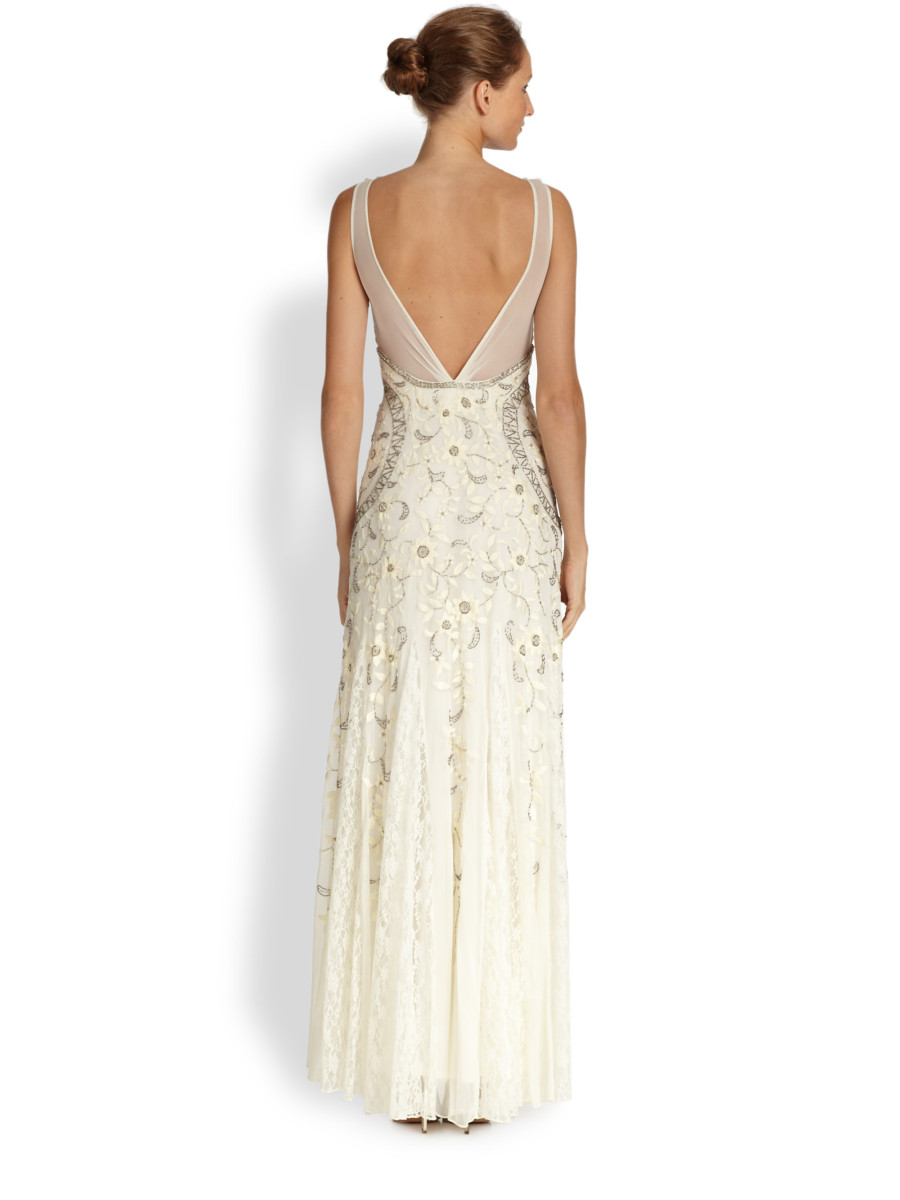 Sue Wong - Beaded Floral Embroidered Tulle Gown - Ivory | All The ...