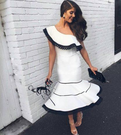 Skazi One Sholder White Black Dress Rent Hire