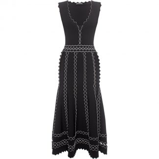 Alexander McQueen Black White Crepe Knit Dress Hire Rent