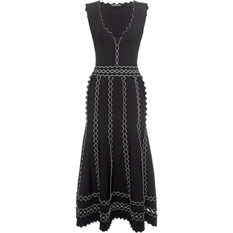 26841a90407 Alexander McQueen Black White Crepe Knit Dress Hire Rent