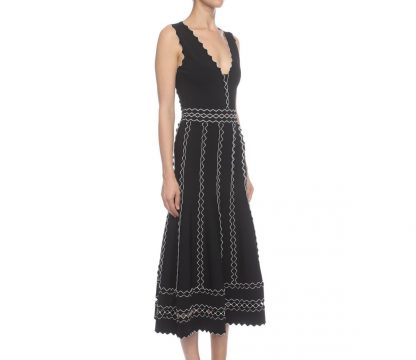 Alexander McQueen Black White Crepe Knit dress
