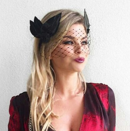 Keegan Mae Millinery Athena Black Crown Rent Hire