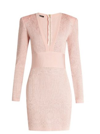Balmain Pink Knit Dress Vneck Hire Buy