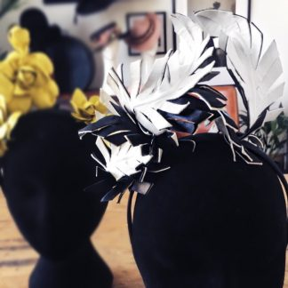 Millinery Jill Feathers Black & White Hire Rent