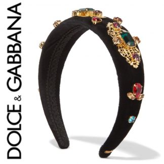 Dolce & Gabbana Velvet Embellished Headband Hire Rent