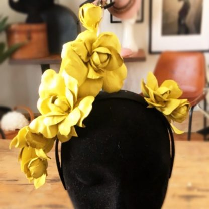 Millinery Jill Roses Yellow Hire Rent