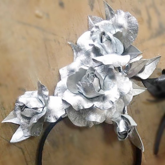 Millinery Jill Roses Silver Hire Rent