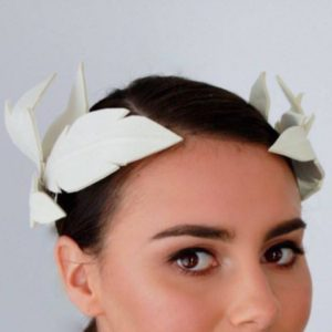 Keegan Mae Millinery Athena Crown - White Hire Rent