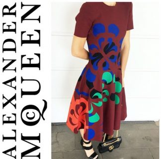Alexander McQueen Burgundy Knit Dress Rent Hire