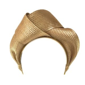 Murley & Co Millinery Turban Gold Rent Hire