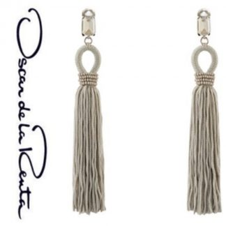 Oscar De La Renta Silver Crystal drop earrings hire rent