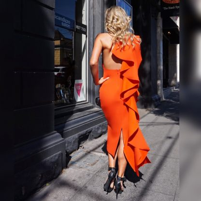 Solace London Amelie Red Orange Ruffle Hire Rent Dress