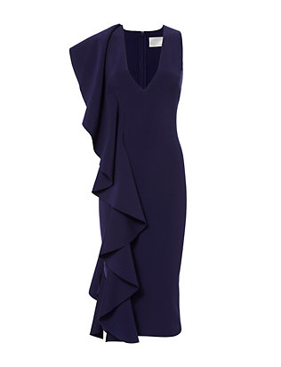Solace London Ceara Blue Ruffle Hire Rent Dress