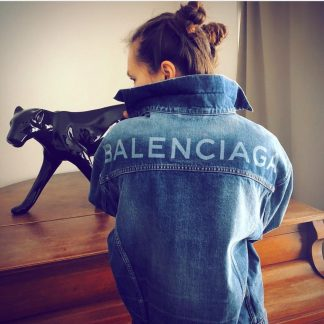 BALENCIAGA Logo Denim Jacket Hire Rent