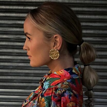 Chanel Gold Vintage Medallion Stud Clip On Earrings Hire Rent