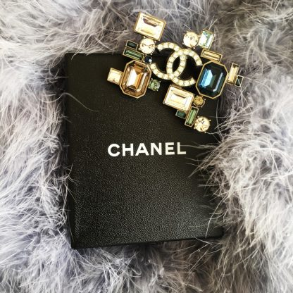 Chanel Deco Crystal Logo Brooch Hire Rent