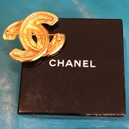 Chanel Gold Logo Quilted Brooch Hire Rent