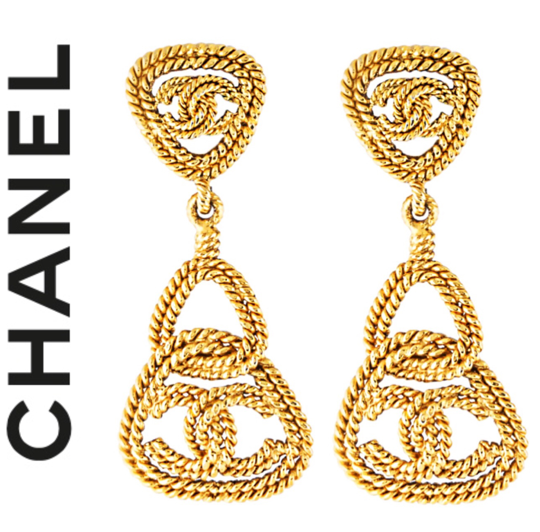 53037dfb9a5a6 CHANEL , Gold Vintage Chanel drop earrings