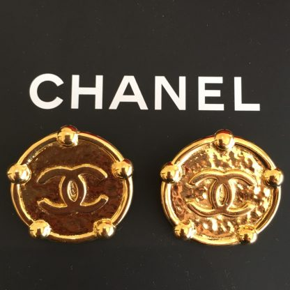 Chanel Gold Vintage Stud Clip On Earrings Hire Rent