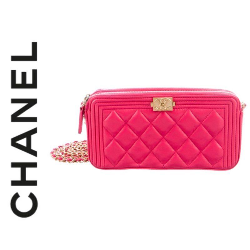Chanel Pink Chanel Boy Clutch With Chain Designer Dress
