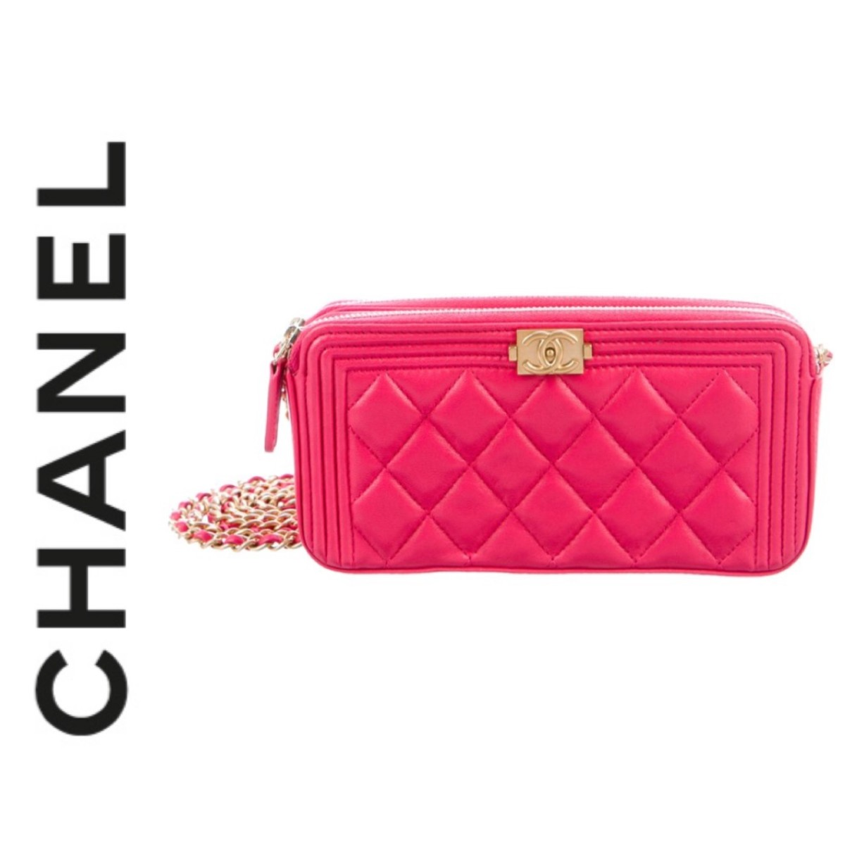 Chanel Pink Chanel Boy Clutch With Chain Designer Dress