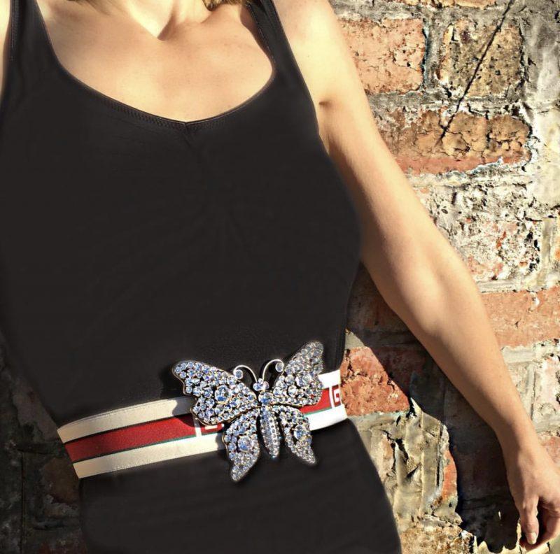 16f6609c8cb Gucci - Crystal Butterfly Web Logo Belt