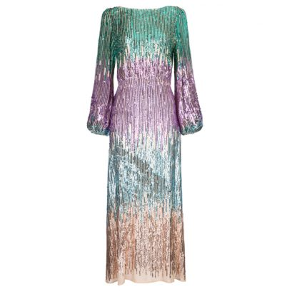 Rixo coco rainbow multi sequin dress hire rent