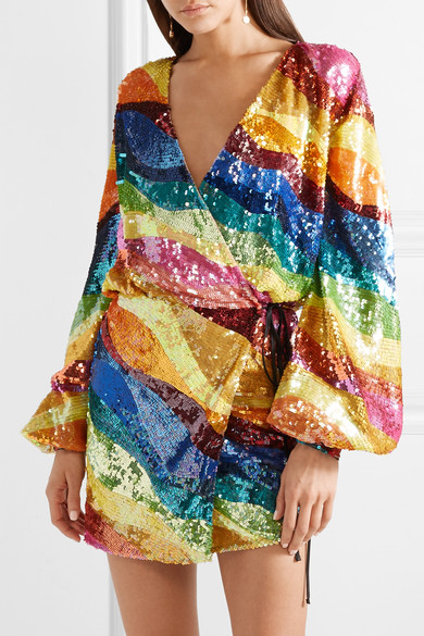 Attico Rainbow Sequin Wrap Mini Dress Designer Dress