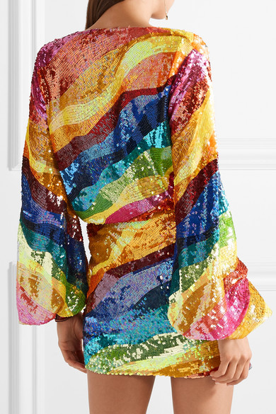 Attico Rainbow Sequin Mini Dress Rent Hire