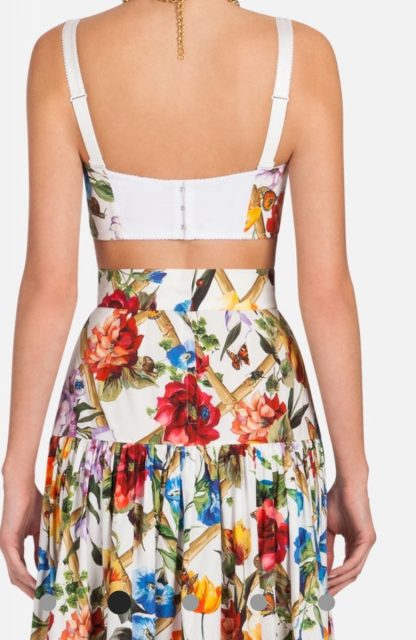Dolce Gabbana Floral 2 piece set crop top maxi skirt rent hire