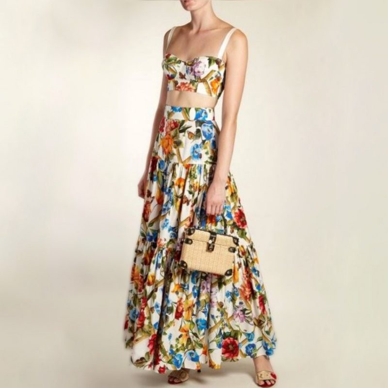 f4f17adddc Dolce Gabbana Floral 2 piece set crop top maxi skirt rent hire