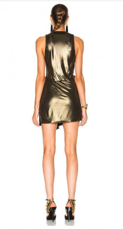 Saint Laurent YSL Gold Twisted Dress Rent Hire