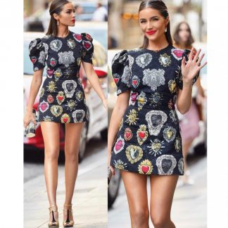 Dolce Gabbana Sacred Heart Mini Dress Puff shoulder Hire Rent