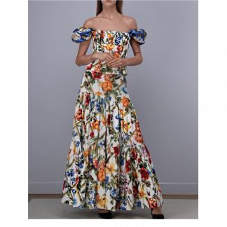 Dolce Gabbana Floral Bamboo Bustier Off shoulder Hire Rent