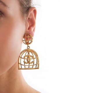 Chanel Iconic Rare Gold Birdcage Earrings Hire Rent