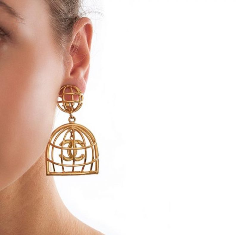 Chanel Rare Gold Vintage Birdcage Earrings All The Dresses
