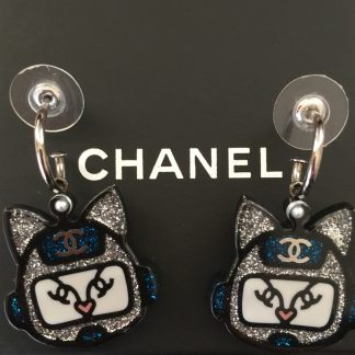 Chanel Robot Cat Emoji Blue Earrings Rent Hire