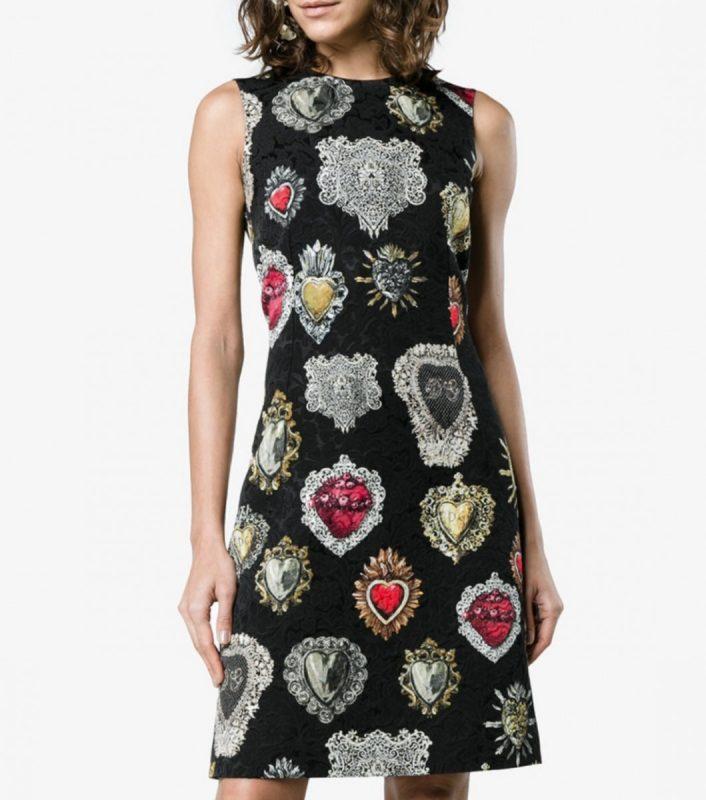 f7a576b377 Dolce   Gabbana - Sacred Heart Brocade Sleeveless Black Dress