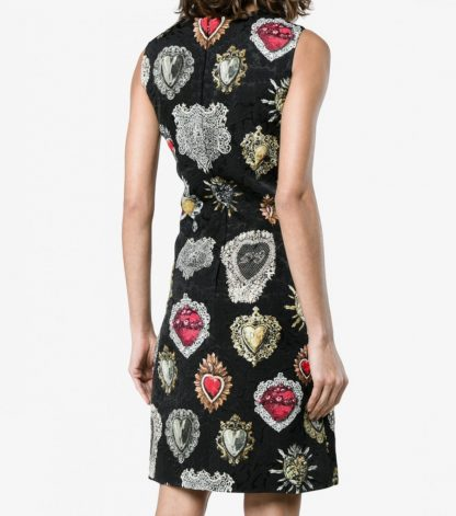 Dolce Gabbana Brocade Sacred Heart Dress Sleeveless Hire Rent