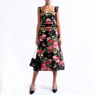 Dolce Gabbana Rose Logo Trim Jacquard Dress Sleeveless Hire Rent