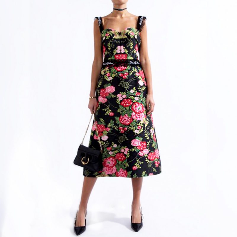 cfd1769e Dolce & Gabbana - Logo Lace Trimmed Rose Print Jacquard Dress | All The  Dresses