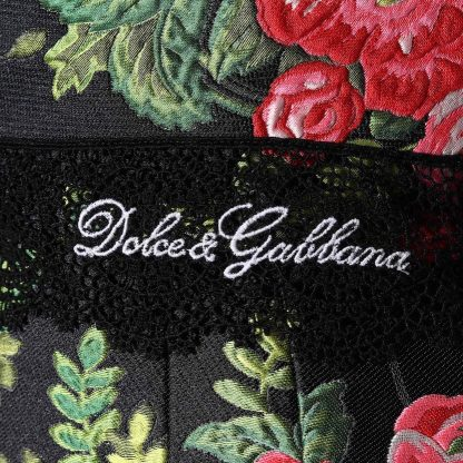 Dolce Gabbana Rose Logo Trim JacquardDress Sleeveless Hire Rent