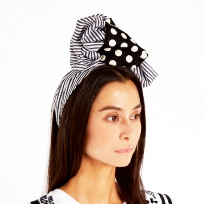 Dolce Gabbana Black White Millinery Headband Rent Hire