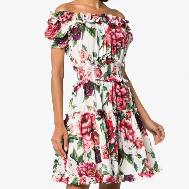 3deaa237 Dolce & Gabbana - Off shoulder Peony Cotton Dress | All The Dresses