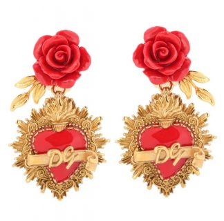 Dolce Gabbana Sacred Heart Rose Logo Earrings Rent