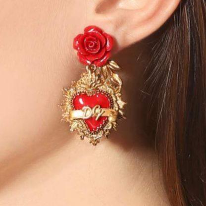 Dolce Gabbana Sacred Heart Rose Logo Earrings Rent