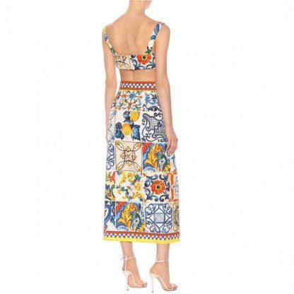 Dolce Gabbana Tile Majolica Print 2 Piece Set Hire Rent